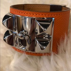Auth orange Hermès Epsom Collier de Chien bracelet
